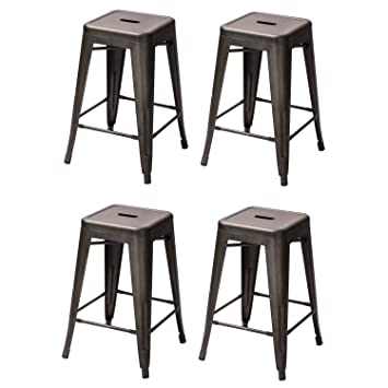 Adeco 24 Inch Metal Tolix Industrial Chic Chair Bar Counter Barstool, Set  Of 4