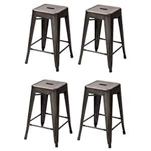 Industrial Rustic Wood Seat And Metal Counter Height