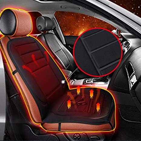 Audew 12V Heated Seat Cushion Car Auto Front Cover Thermal Pad Winter Warmer