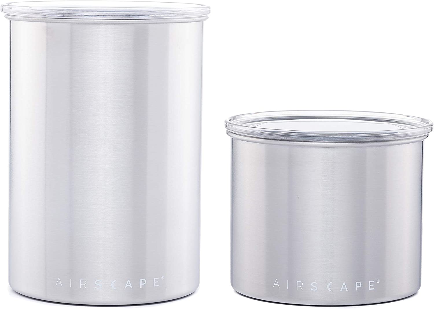 Airscape Coffee and Food Storage Canister - Patented Airtight Lid Preserve Food Freshness, Stainless Steel Food Container, Brushed Steel, 4