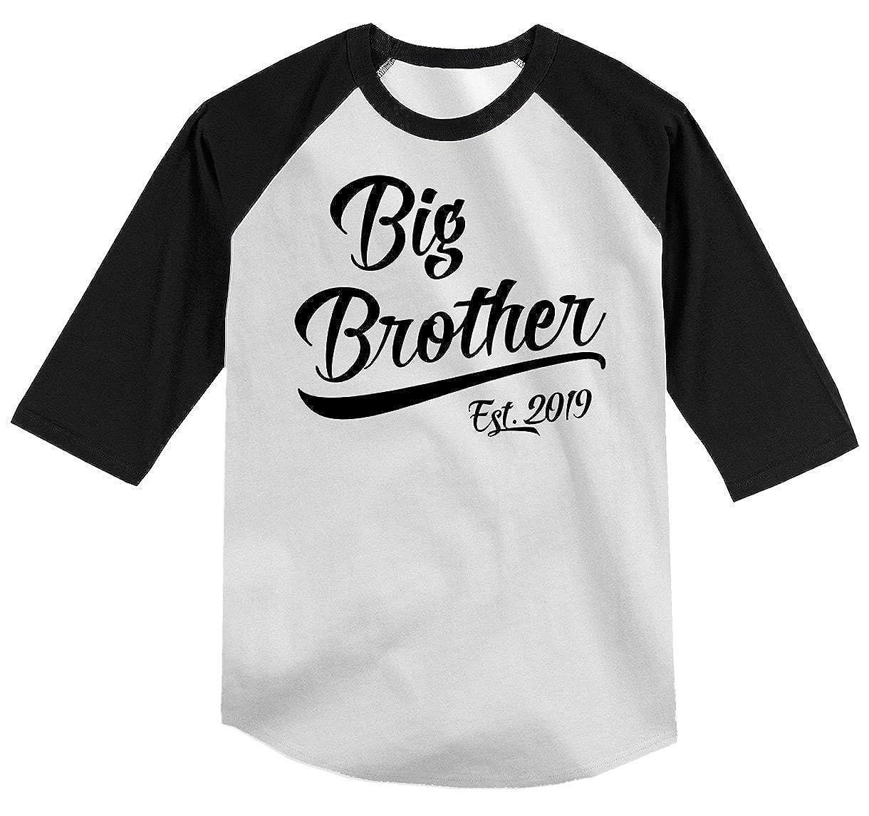 27cb7fb8 Amazon.com: Shirts By Sarah Boy's Toddler Big Brother EST. 2019 T-Shirt  Promoted to T-Shirt 3/4 Sleeve Raglan: Clothing