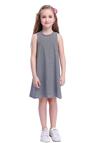 6de55937829f Amazon.com: Happy Rose Lttile Girls' Casual Black and White Striped  Sleeveless T Shirt Dress 6-14 Years: Clothing