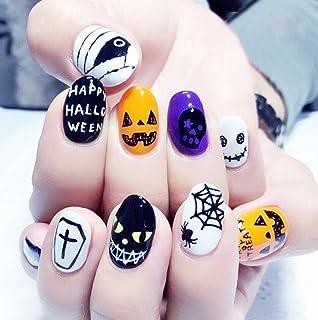 Jovono - Juego de uñas postizas, diseño con motivos de Halloween