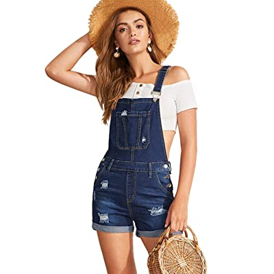 Milumia Women's Casual Denim Bib Overall Dress Adjustable Strap Dress at Women's Clothing store