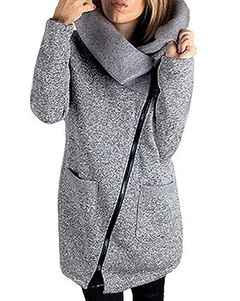 StyleDome Abrigo Mujer Chaqueta Larga Escote Solapa Vestido Invierno Elegante Moda Cremallera: Amazon.es: Ropa y accesorios