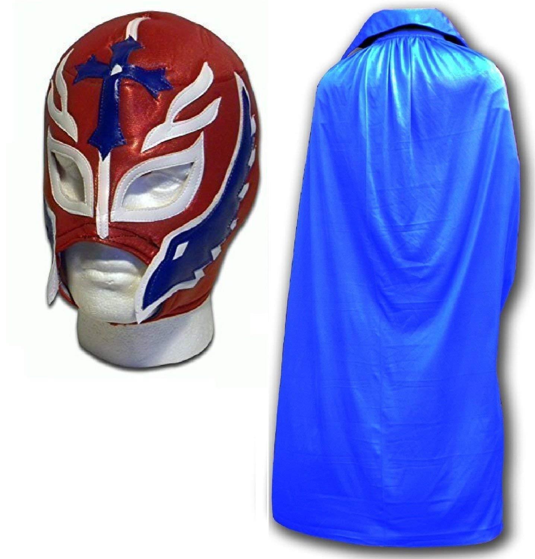 Erwachsene Rot Son of Devil Maske W  Blau Umhang Erwachsene Luchador Mexikanisch Wrestling