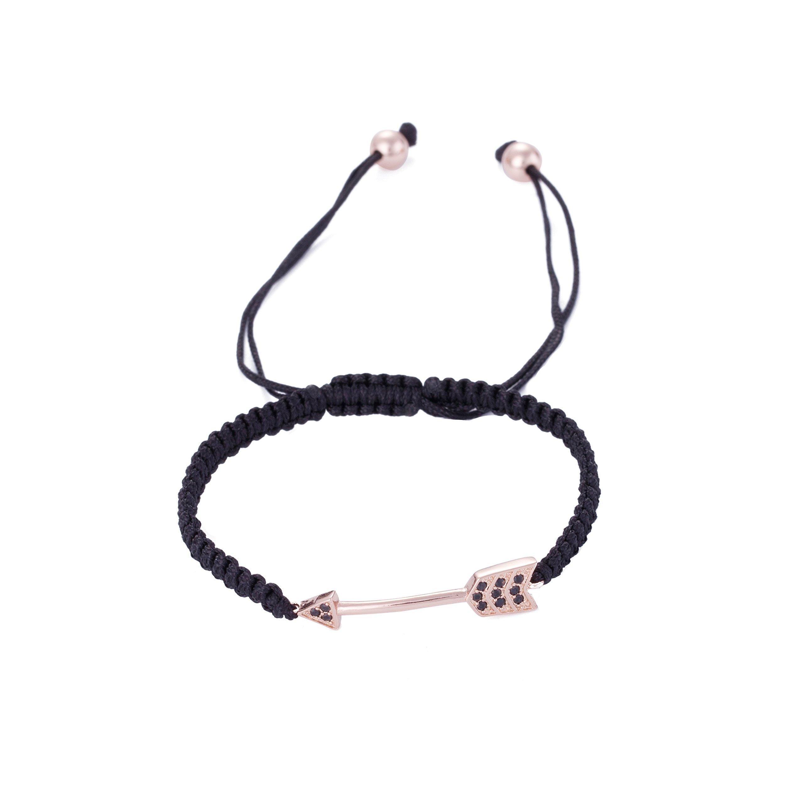 DDRICH Arrow Black Wax Rope Braid Bracelet Arrow Anklet Adjustable Macrame Friendship Bracelet Gift for Her (RG arrow)