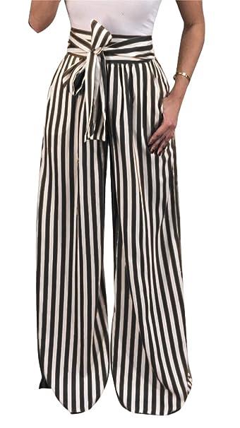 1cfde96cf2 Nrthye Women Striped Loose Stretch High Waist Palazzo Wide Leg Long Pants