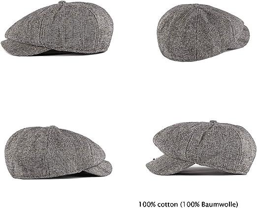 Charmylo Newsboy Cap Baker Boy Hat Gorras Planas 8 Paneles Peaky Herringbone Tweed Gatsby Hat Ivy Irish Cap para Hombres y Mujeres Ajuste 56~63cm