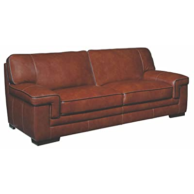 Simon Li Furniture Macco Leather Sofa In Chestnut Brown