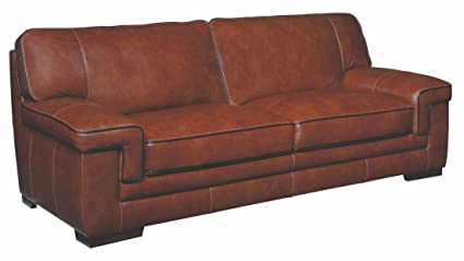 Simon Li Furniture Macco Leather Sofa In Chestnut Brown