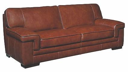 Superbe Simon Li Furniture Macco Leather Sofa In Chestnut Brown