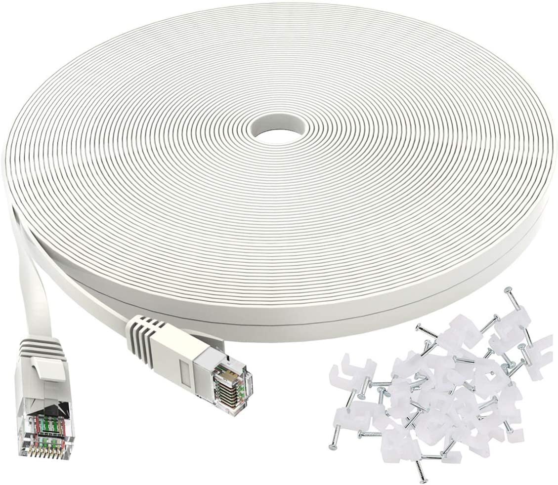 Cat 6 Ethernet Cable 50 ft White - Flat Internet...