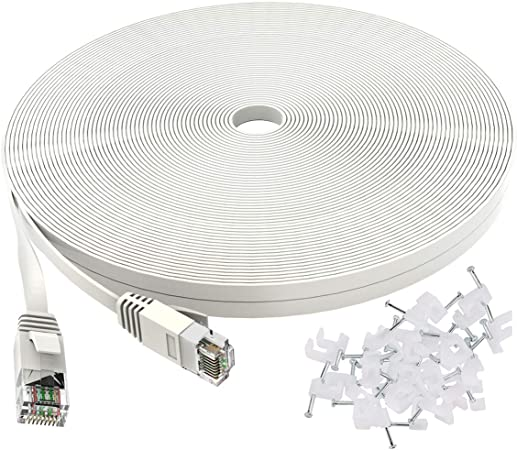 Amazon Com Cat 6 Ethernet Cable 50 Ft White Flat Internet Network Lan Patch Cords Solid Cat6 High Speed Computer Wire With Clips Snagless Rj45 Connectors For Router Modem Faster