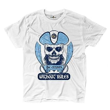 Camiseta camiseta hombre fútbol pirata Tifosi Manchester ultras Fans Sport City Wi, blanco, Small