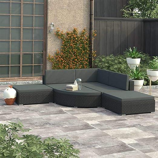 Festnight Set Muebles de Jardín y Cojines 6 Piezas Juego de Sofás de Jardín Terraza Balcón o Patio Ratán Sintético Negro: Amazon.es: Hogar