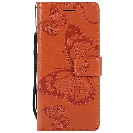 DENDICO Funda Sony Xperia E5, Cuero Fundas Protección De Cuerpo Completo Carcasa para Sony Xperia E5 - Naranja