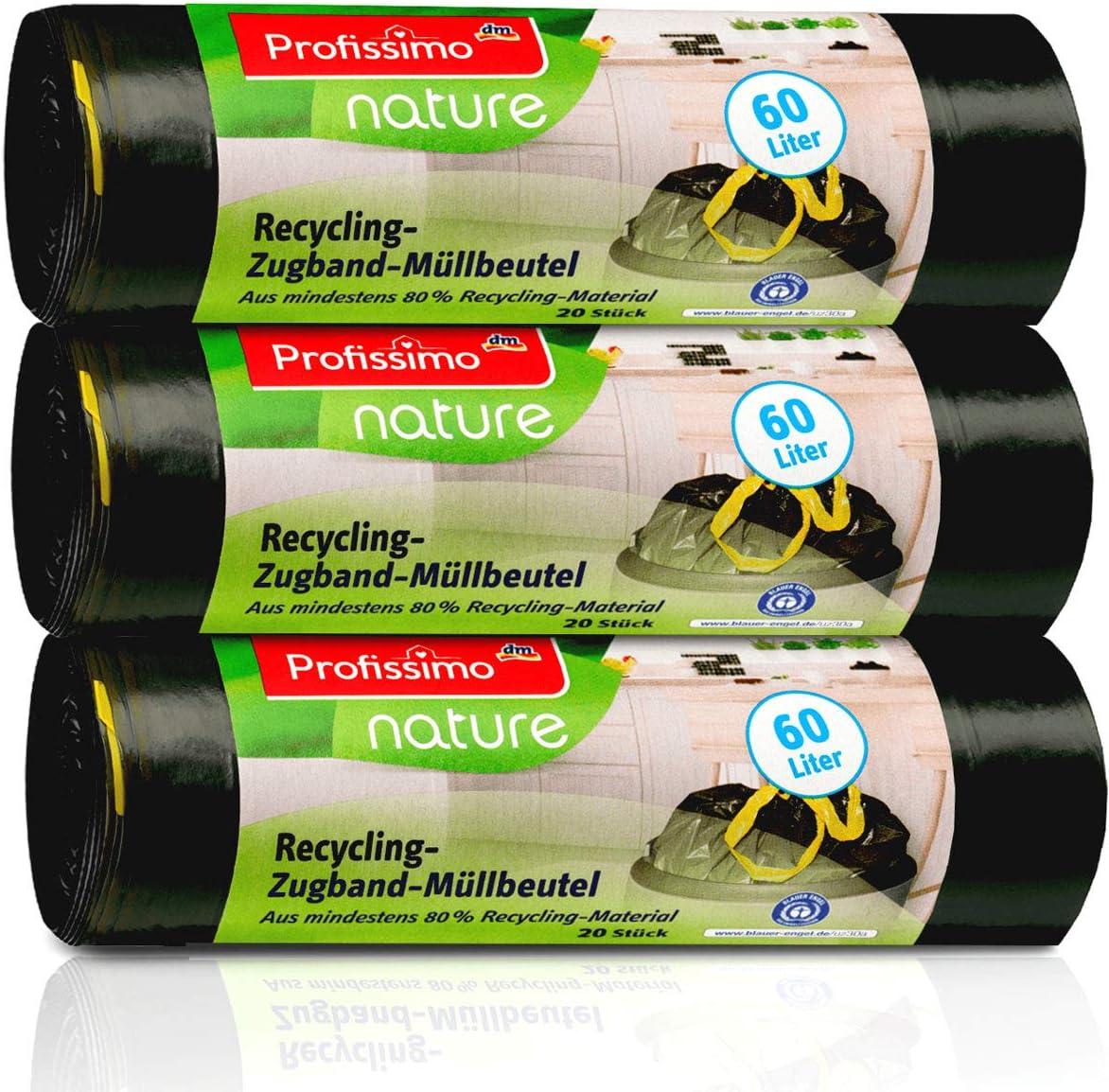 """Öko Müllbeutel mit Zugband - 60 Liter (60 Stück) - Extrem Reißfest & Flüssigkeitsdicht - 3er Pack (3x20 Stück) - """"Blauer Engel"""" Zertifikat"""