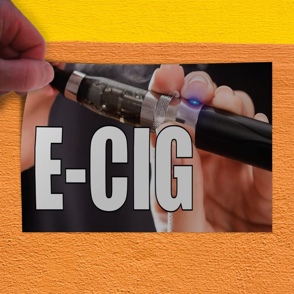 27inx18in Decal Sticker Multiple Sizes E-Cig #1 Style E Business E cig Outdoor Store Sign Blue Set of 5