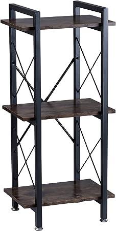 Botone - Estantería estrecha, estantería de pie con tres estantes en aspecto de madera rústica y estable marco de metal negro; perfecta para salón, ...