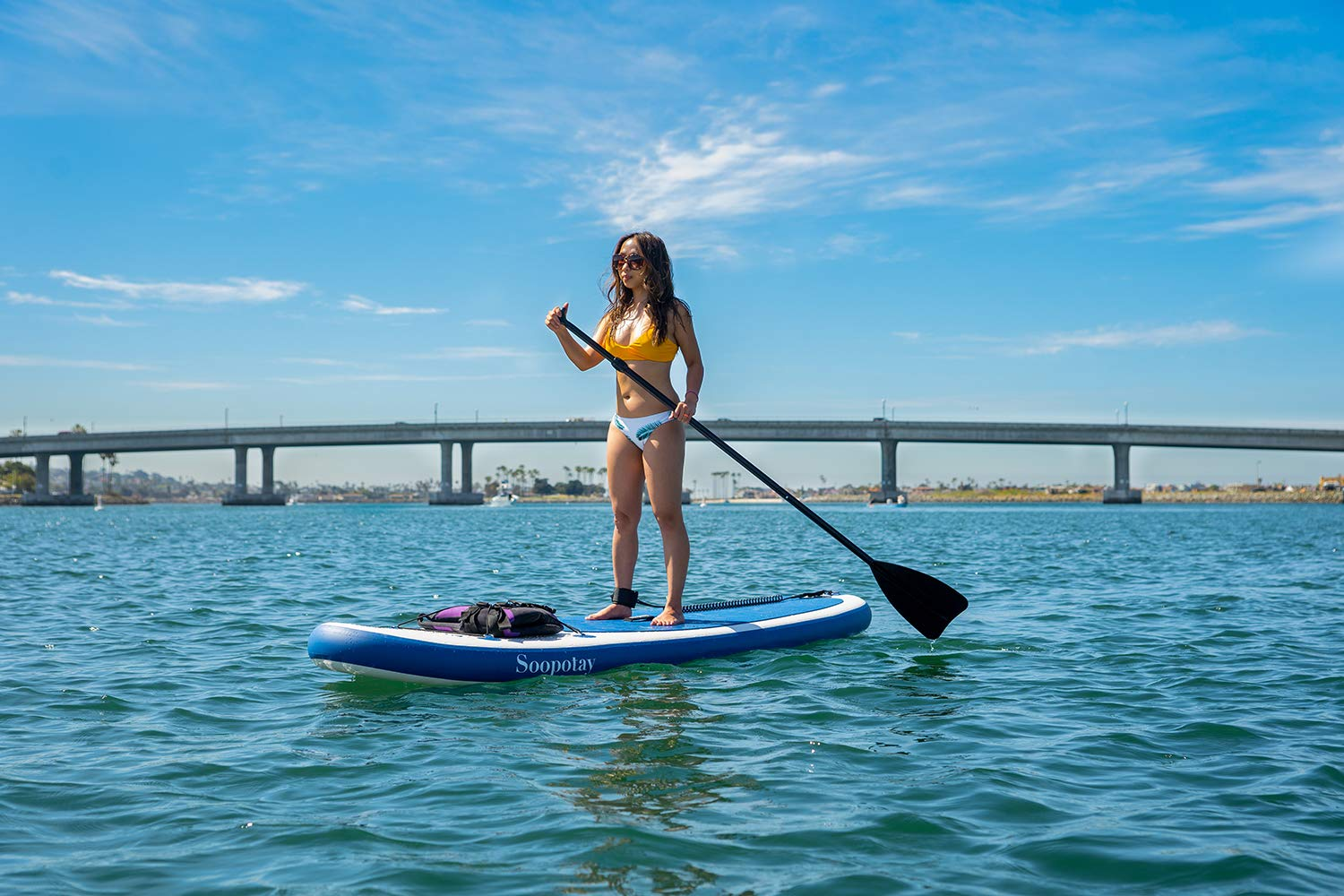 Inflatable SUP Stand Up Paddle Board, Inflatable SUP Board, iSUP Package with All Accessories (All Round Primary-Navy Blue-10' x 32'' x 6'') by Soopotay (Image #4)
