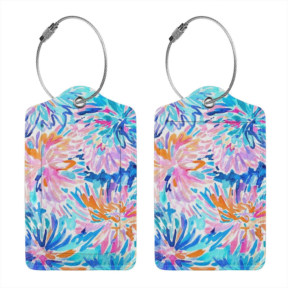 Tie Dye Neon Color Luggage Tags With Full Back Privacy Cover W//Steel Loops