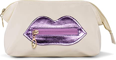 Soft Leather Travel Make Up Bag Cosmetic Bag Toiletry Pouch with Purple Lip (Beige L)