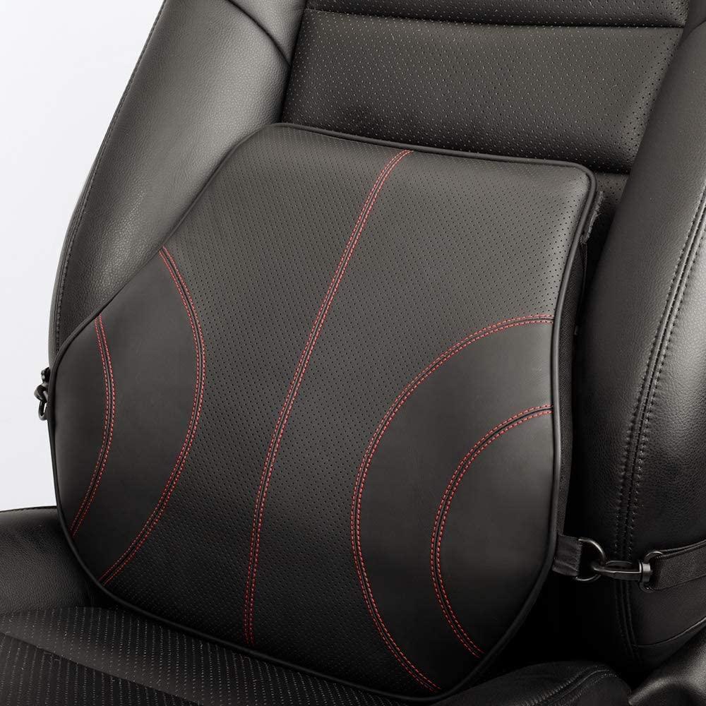 Car Seat etc 1 Pack Lower Back Pillow for Computer//Office Chair - Black Car Back Pillow with Memory Foam Aukee Genuine Leather Lumbar Support Cushion Orthopedic Design for Back Pain Relief