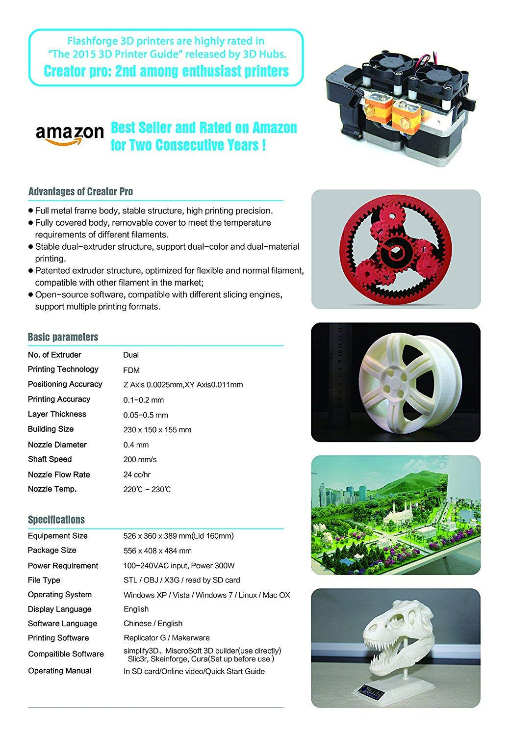 Flashforge Creator Pro 3D Printer: Amazon.es: Oficina y ...