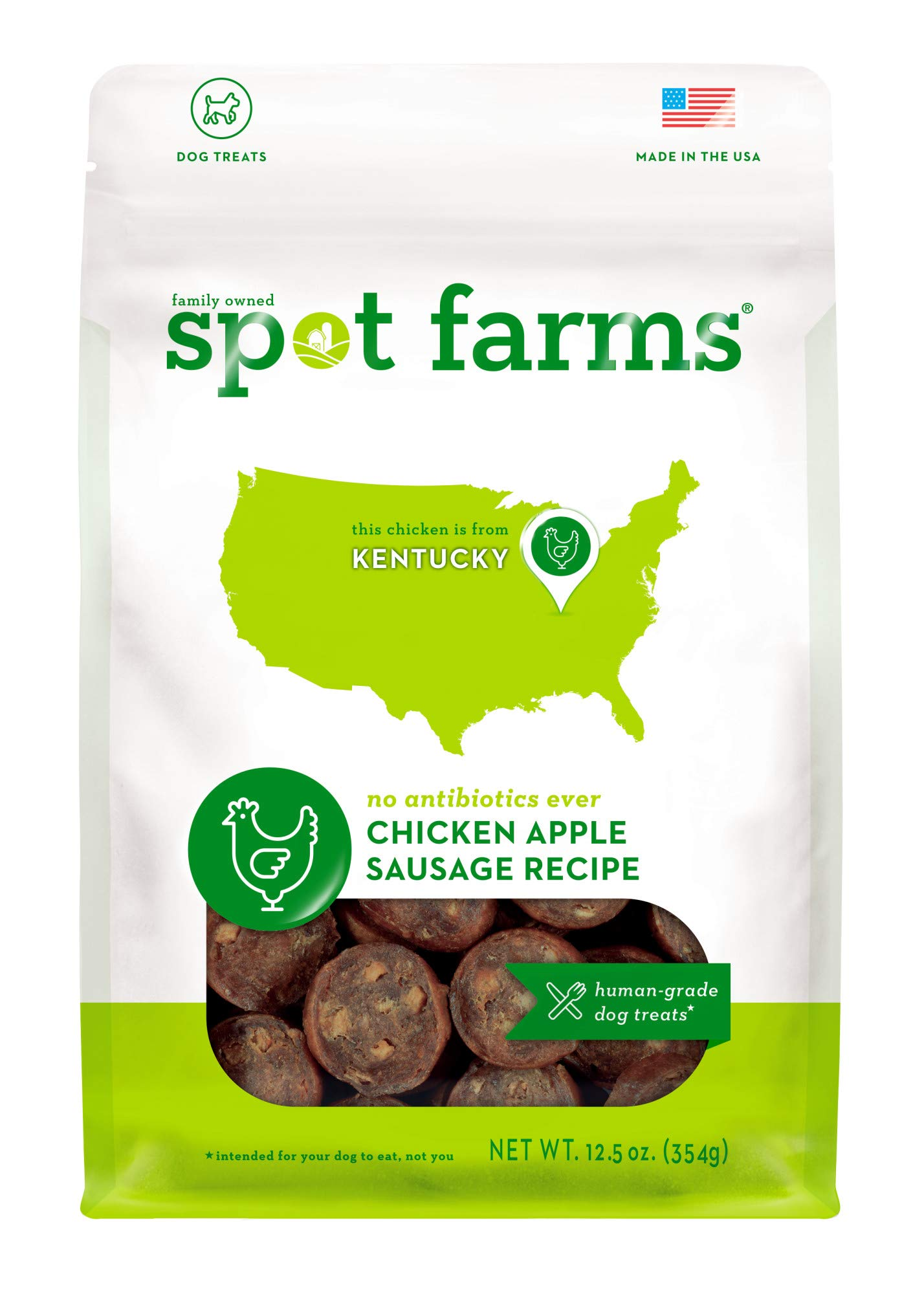 Spot Farms All Natural Human Grade Dog Treats, Chicken Apple Sausage