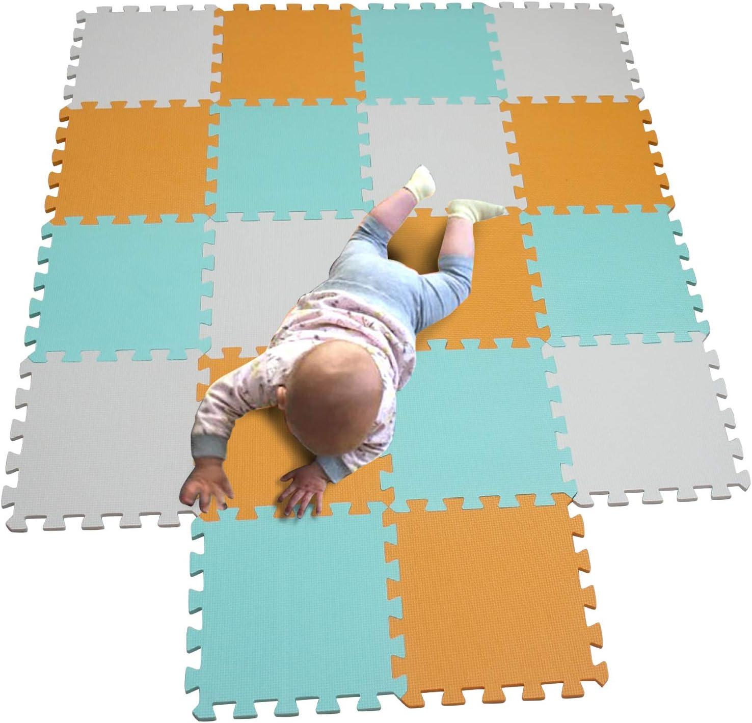 MQIAOHAM children puzzle mat play mat squares play mat tiles baby mats for floor puzzle mat soft play mats girl playmat carpet interlocking foam floor mats for baby white orange green 101102108