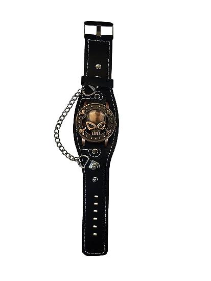 Reloj De Pulsera Con Tapa, Calavera y cadena