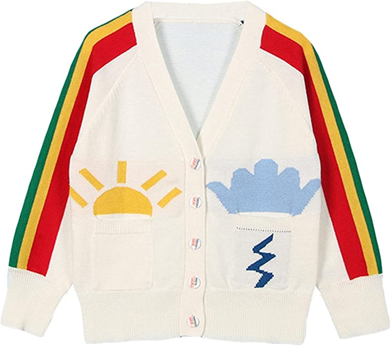 1cab93eb1 Amazon.com  Baby Girls 1-6T Rainbow V-Neck Button-down Cotton Knits ...