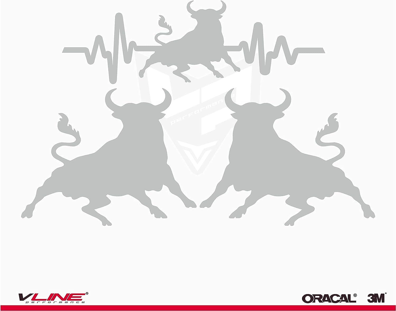 Provinyl Pegatinas Toro Español Pack 3 Unidades, 2 toros de 9,5 x 7.5 cm + Latidos Toro de 14,1 x 4,5 cm para Coche o Moto (Plata): Amazon.es: Coche y moto
