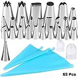 Kurtzy 52 teiliges Silikon Spritztüten Set mit Einweg-Spritzbeutel, Tüllen und Adapter Großpackung Spritzbeutel und Düsen-Spitzen - Back- und Gebäck Zubehör - Dekorier-Set für Glasur