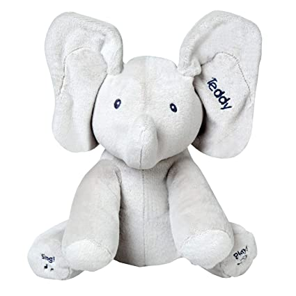 8bc5fba3a55 Amazon.com  Gund Personalized Baby Flappy The Elephant Peek-a-Boo Animated  Talking and Singing Plush Toy - Gray - 12