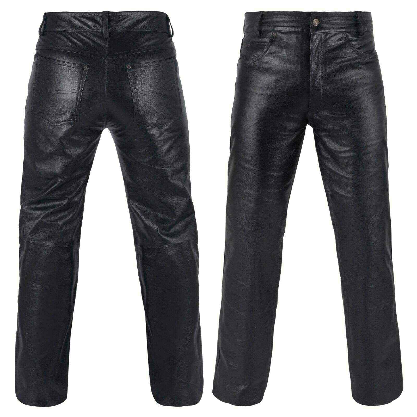 DEFY Men's Cow Skin Full Grain Motorcycle Heavy Duty Stretchable Leather Pants (44'') by DEFY Challenge Your Fear