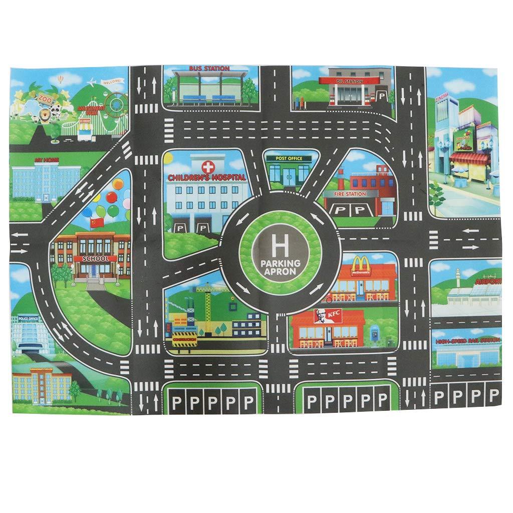 58cm B Blesiya Tapis de Jeu pour Enfants Circuit de Voitures dans Ville Playset Trafic Routes 83