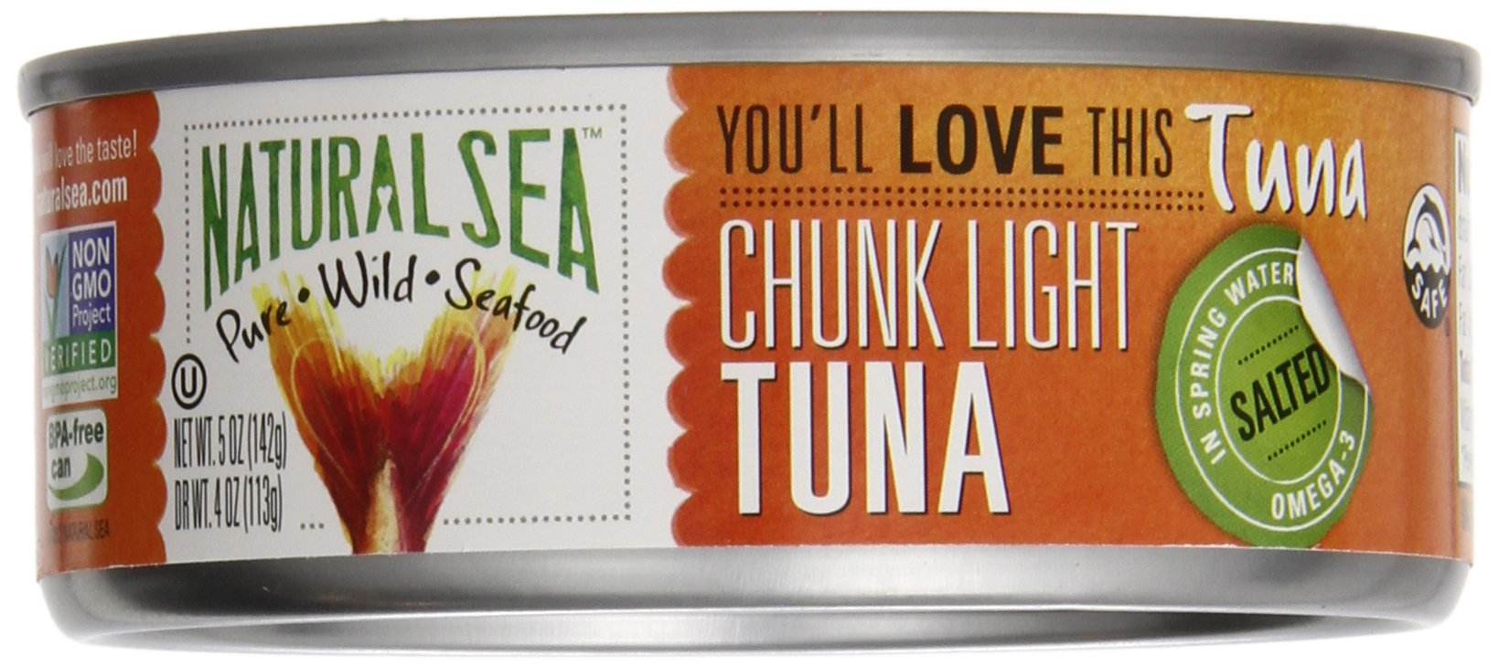 Natural Sea Tuna, Yellowfin, Chunk Light, Salted, 5-Ounce (Pack of 8)