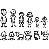 """12 STICK FIGURE FAMILY Your Funny Vinyl Decal Sticker White In Color No Inks 100% Vinyl Range From 5 1/2 """" High By 2 ½"""" Wide, To 3 ½"""" High By 2"""" Wide"""
