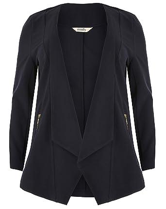 b2b3fd0d4e4 Emily Ladies Plus Size Navy Blue Waterfall Zip Pocket Jacket  Amazon.co.uk   Clothing