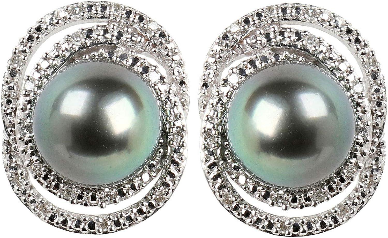 Pendientes de mujer de plata de ley 925 con perlas cultivadas de Tahití 8,5 mm y 32 diamantes