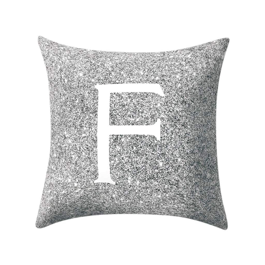 Letter Pillow Case Covers Metallic Throw Pillow Case 18x18'' A-Z Letter Alphabets Cushion Cover for Home Sofa Couch Decor (F)