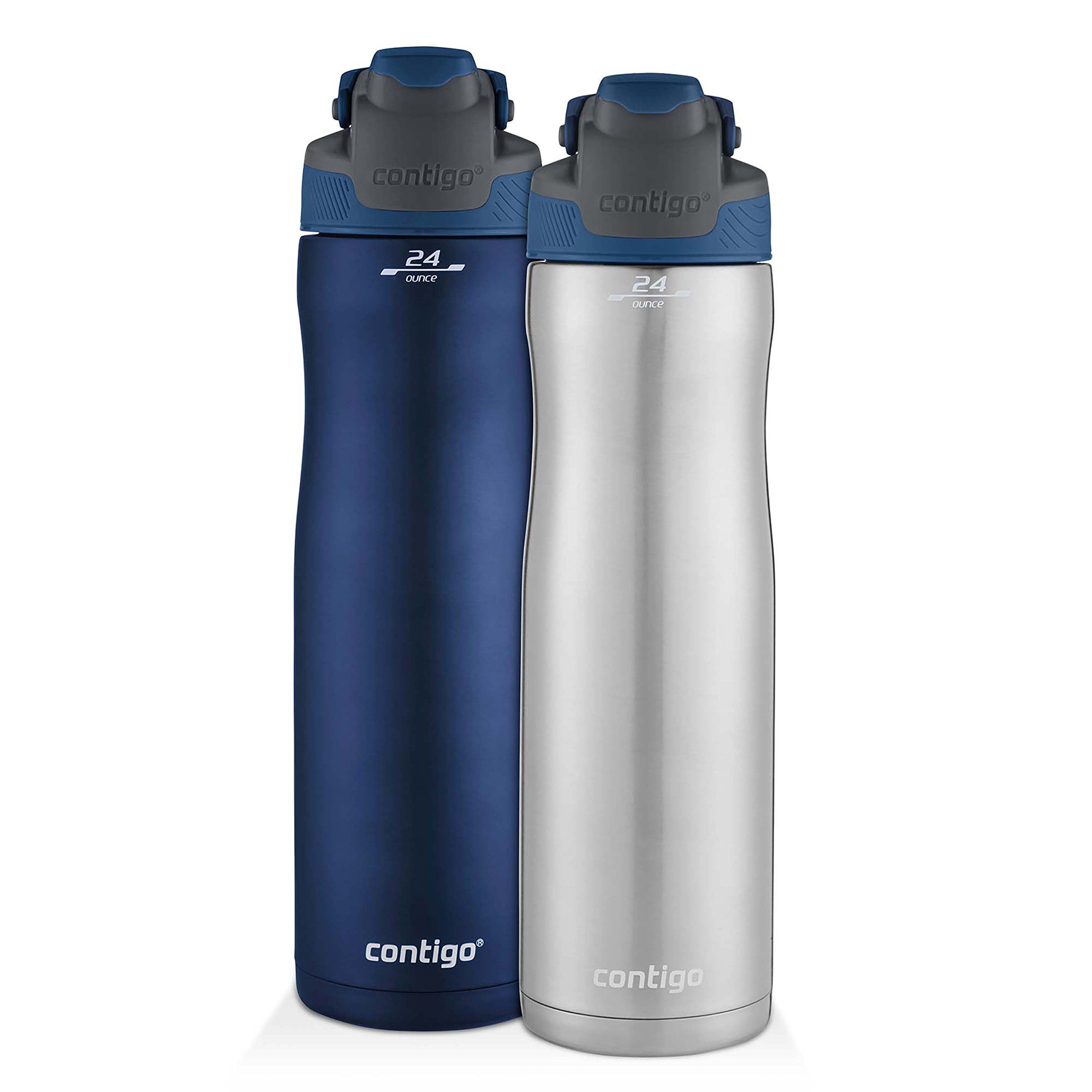 Contigo AUTOSEAL Chill Stainless Steel Water Bottles, 24 oz, SS/Monaco & Monaco, 2-Pack