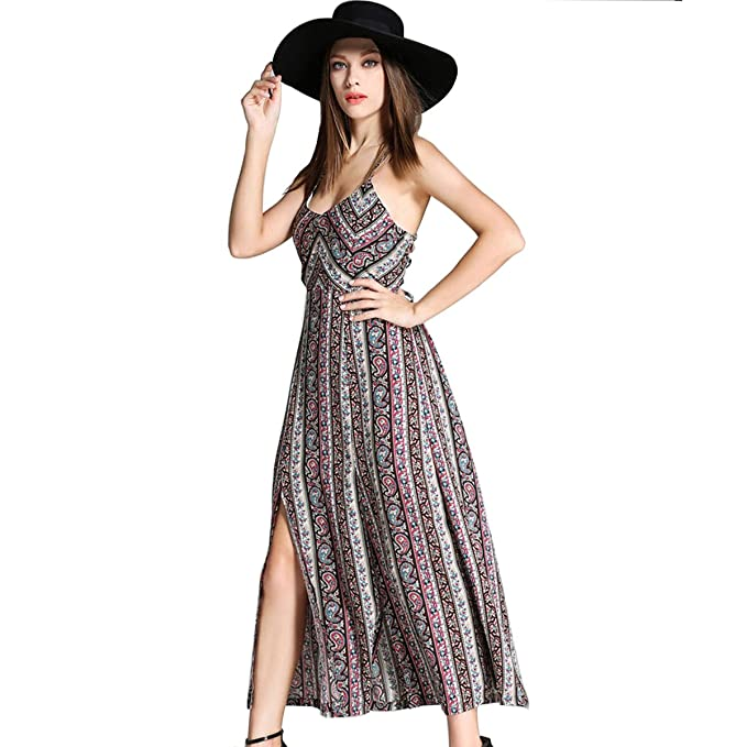 Enbeautter Sexy Loose Plus Size Spaghetti Strap Boho Maxi Dress Garden Party Dresses For Women By