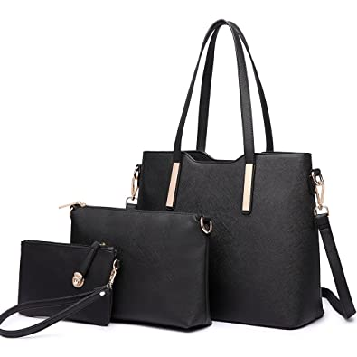 aa3d9e7d34 Amazon.com  Miss Lulu Women Fashion Handbag Shoulder Bag Purse Faux Leather Tote  Handbags Set 3 Pieces (6648 Black)  Shoes