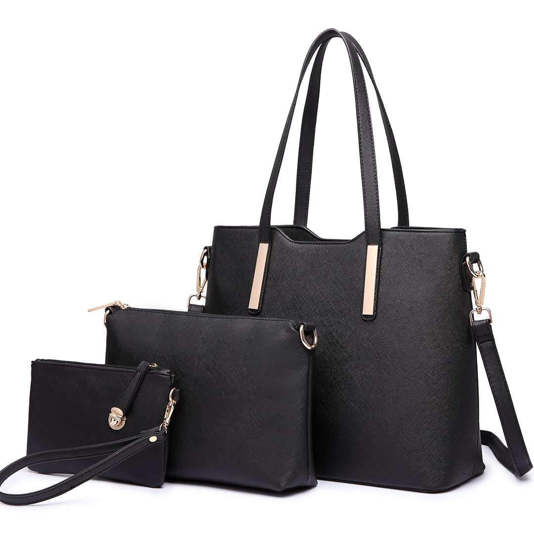Women Fashion Handbag Shoulder Bag Purse Faux Leather Tote 3 Piece (Black)