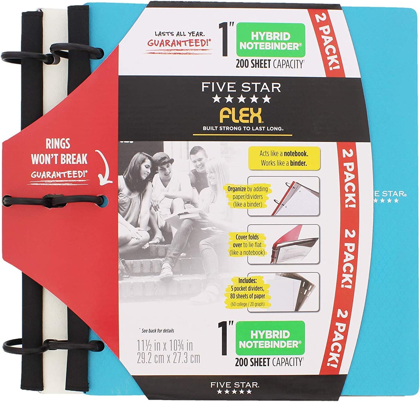 Five Star Flex Hybrid NoteBinder - 1 Inch Capacity, 11.5 x 11 Inches, Notebook and Binder All-in-One - 2 Pack - White/Teal [並行輸入品]