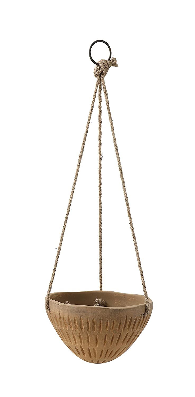 Bloomingville Terracotta Flower Pot with Jute Hanger 8 Inch x 5 Inch Brown