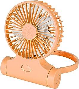 Convenient Mini Personal Fans - USB Rechargeable Battery Powered Desktop Mini Fan, Three Speed Adjustable Handheld Fan (Orange)